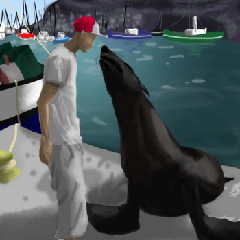 Missing image of Man and seal at pier